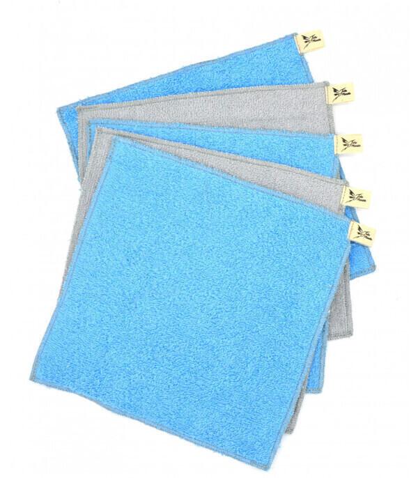Jolie Planète - 5 Essuie-tout lavables Bleu Clair et Gris