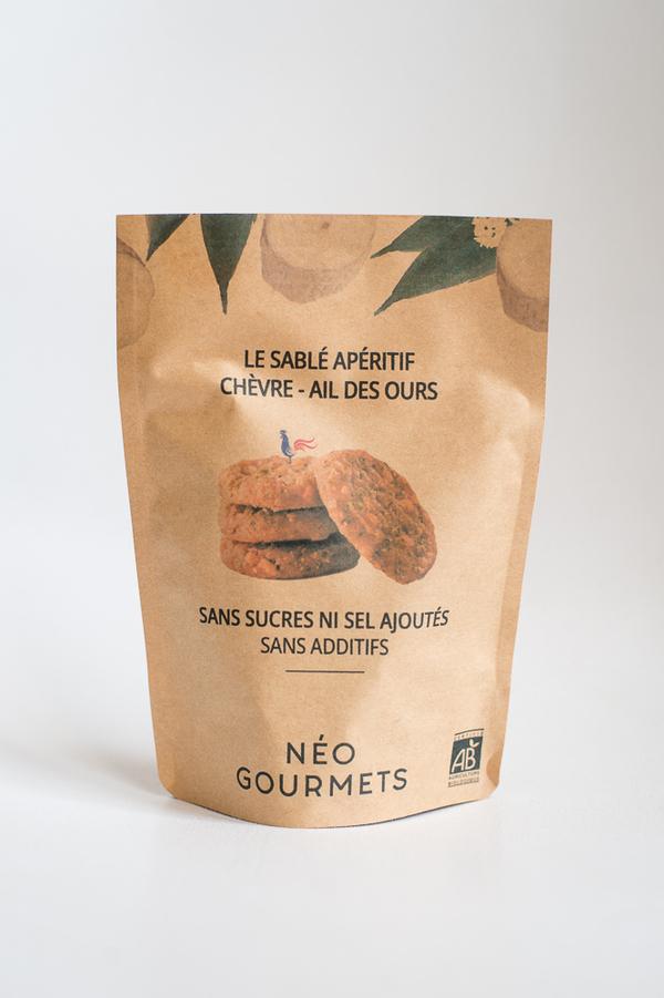 NéoGourmets - Le Sablé Apéritif Chèvre - Ail des Ours - Biscuits salés 90g