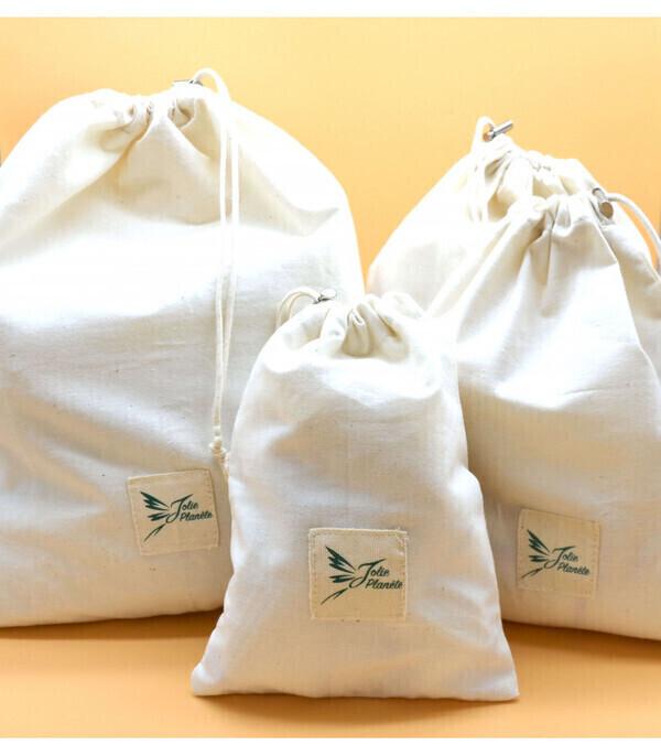 Jolie Planète - 4 sacs réutilisables en coton 100 % biologique