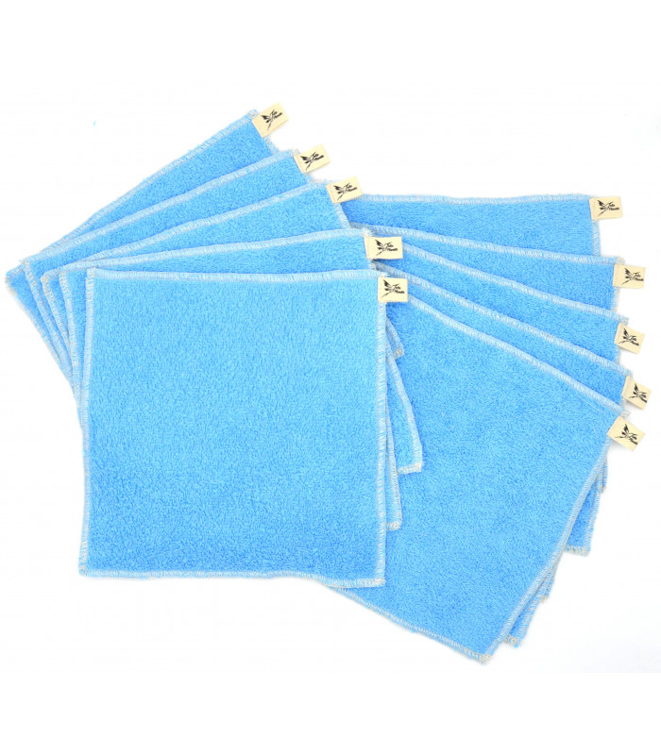 Jolie Planète - 10 Essuie-tout lavables Bleu Clair, Liseré Ecru