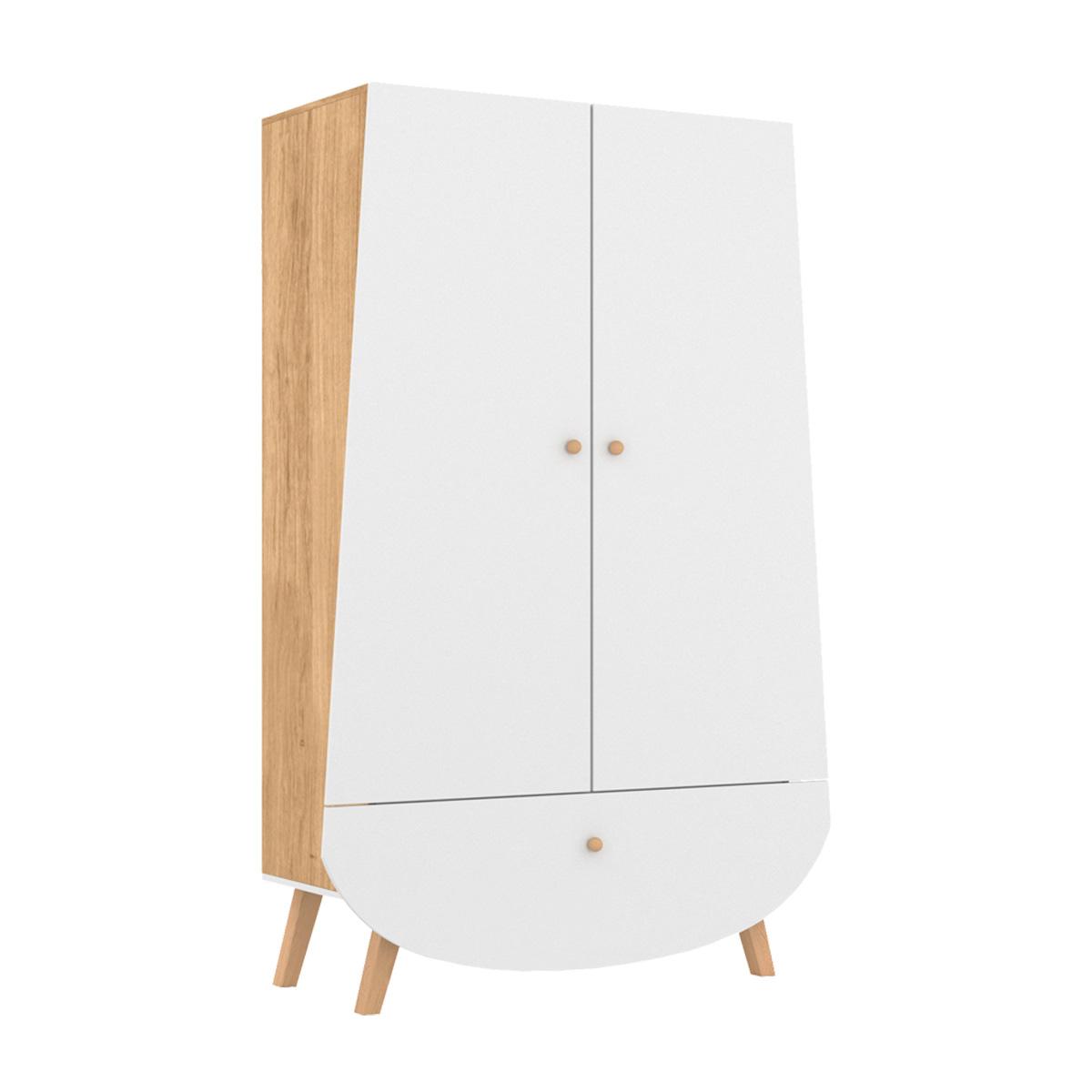 Songes et Rigolades - Armoire 2 portes 1 tiroir Trapèze - Blanc et bois
