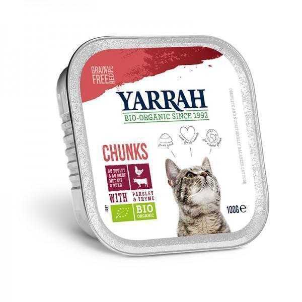 Yarrah - Bouchées de poulet et boeuf en sauce au persil, pour chats