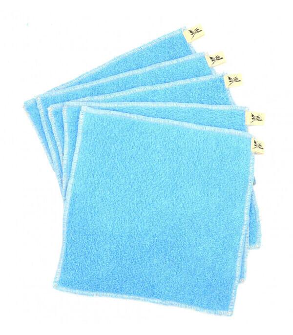 Jolie Planète - 5 Essuie-tout lavables Bleu Clair, Liseré Ecru