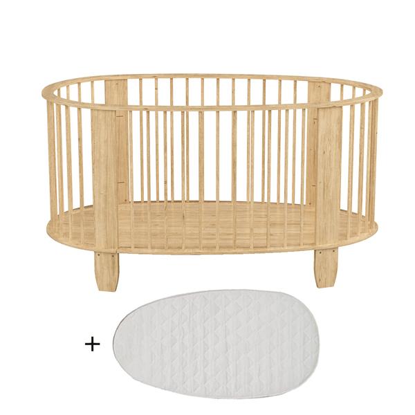 Songes et Rigolades - Lit bébé 60x120 matelas inclus Cocon - Bois