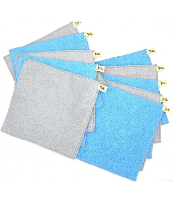 Jolie Planète - 10 Essuie-tout lavables Bleu Clair et Gris