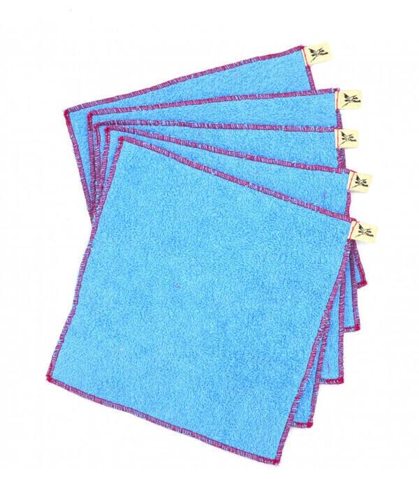 Jolie Planète - 5 Essuie-tout lavables Bleu Clair, Liseré Fuchsia