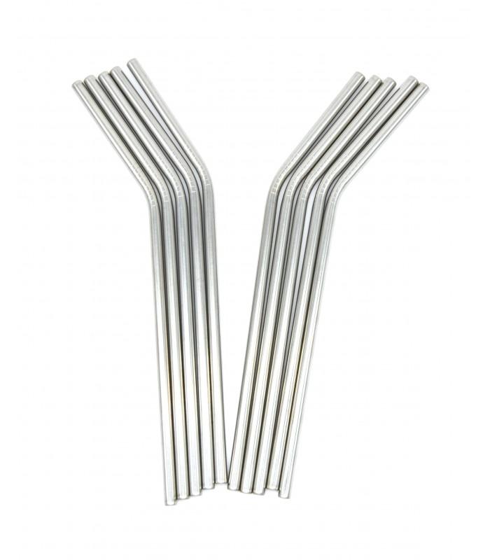Les pailles.com - 10 pailles en inox courbées réutilisables