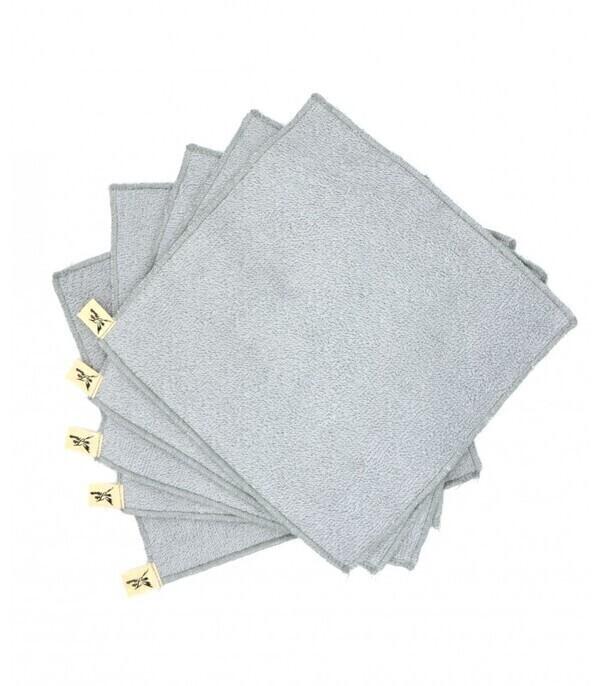 Jolie Planète - 5 essuie-tout lavables, Couleur Gris perle
