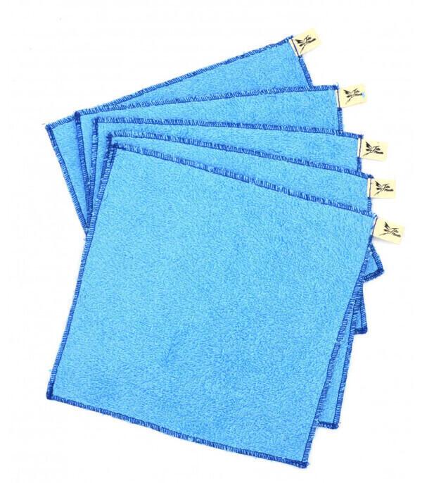 Jolie Planète - 5 Essuie-tout lavables Bleu Clair, Liseré Bleu Marine