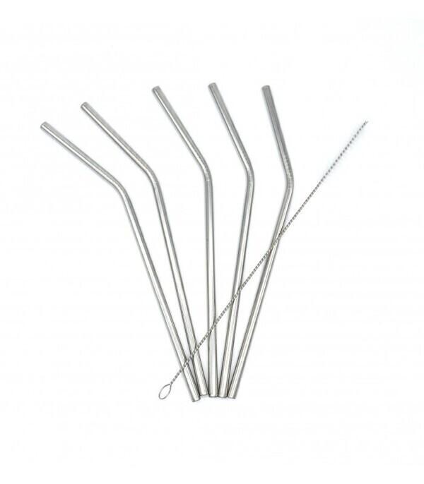 Les pailles.com - 5 pailles en inox courbées réutilisables