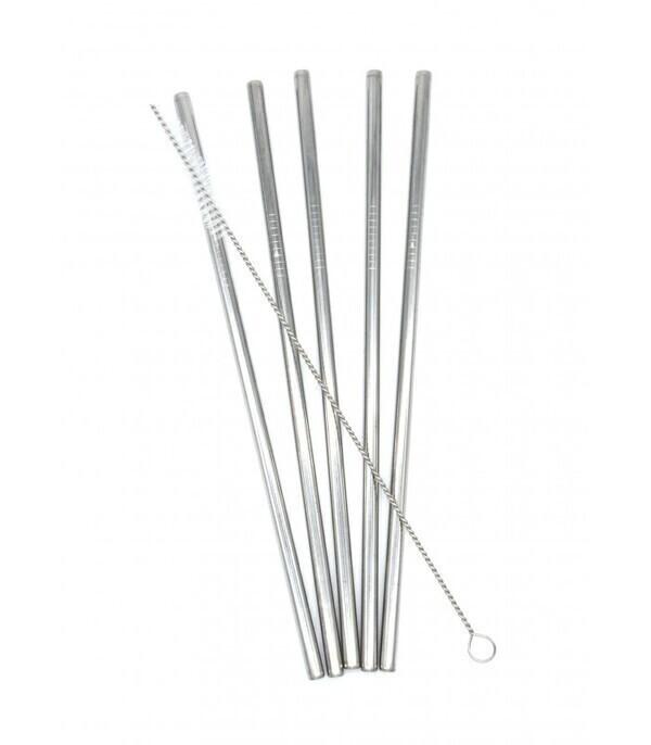 Les pailles.com - 5 pailles en inox droites réutilisables