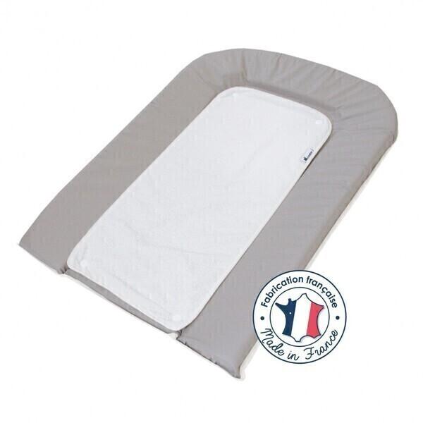 Candide - Matelas à langer PVC gris + 2 éponges pressionnées blanches