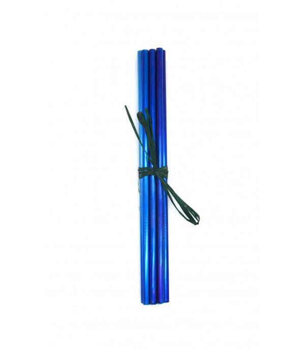 Les pailles.com - 10 pailles Bleues en inox droites réutilisables