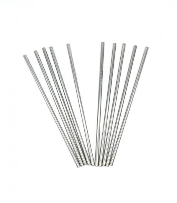 Les pailles.com - 10 pailles en inox droites réutilisables