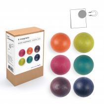 tout simplement, - boîte de 6 boules magnétiques en bois - couleur