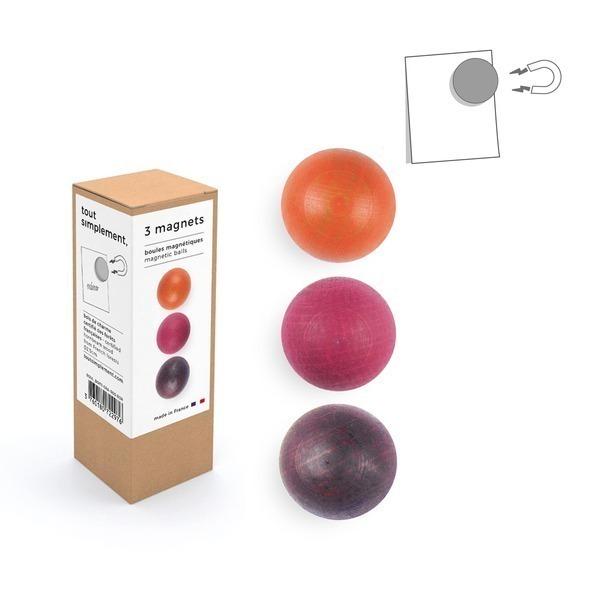 tout simplement, - boîte de 3 boules magnétiques en bois - orange/rose/bordeaux