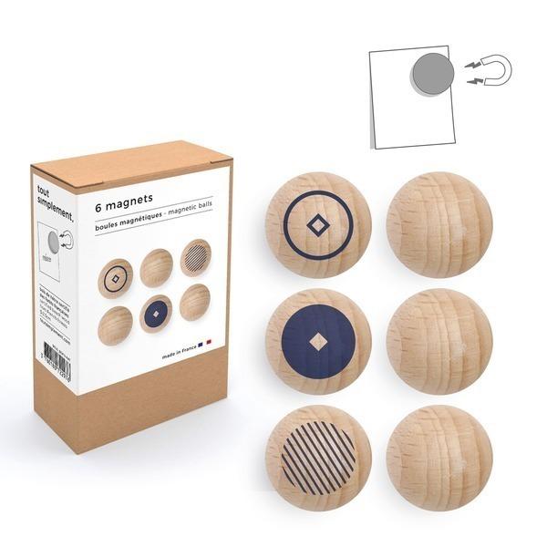 tout simplement, - boîte de 6 boules magnétiques en bois - motif bleu