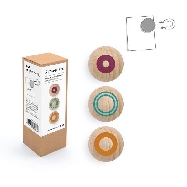 tout simplement, - boîte de 3 boules magnétiques en bois - motif couleur