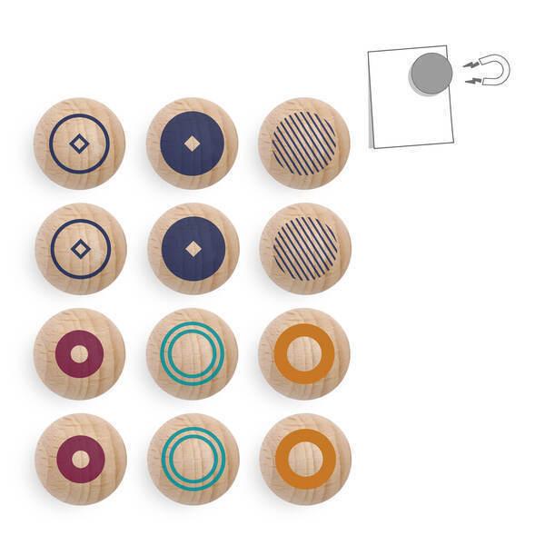 tout simplement, - lot de 12 boules magnétiques en bois - motif
