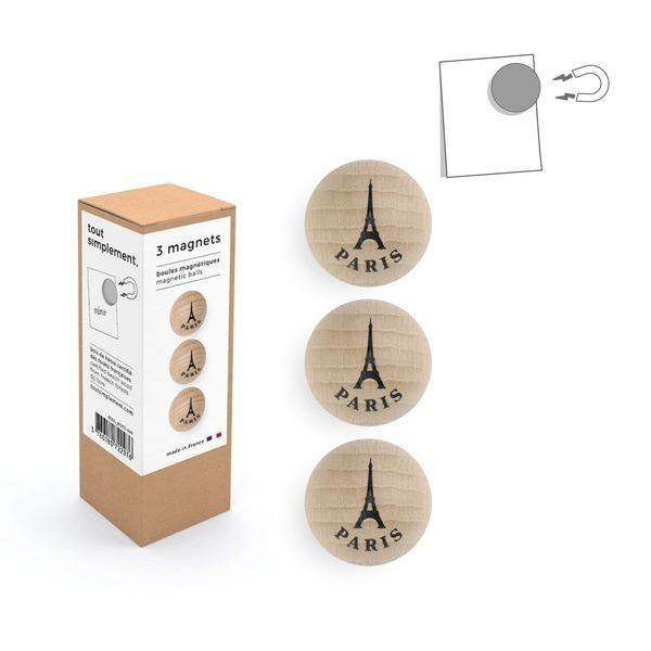 tout simplement, - boîte de 3 boules magnétiques en bois - Tour Eiffel naturel