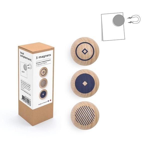 tout simplement, - boîte de 3 boules magnétiques en bois - motif bleu