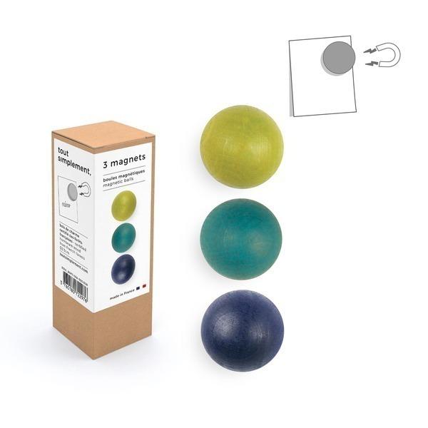 tout simplement, - boîte de 3 boules magnétiques en bois - vert & bleu