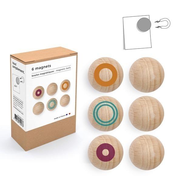 tout simplement, - boîte de 6 boules magnétiques en bois - motif couleur