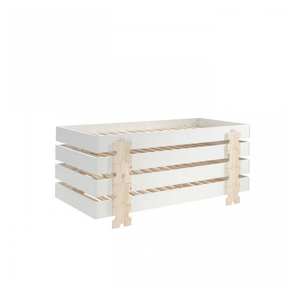 Vipack - 4 Lits Modulo Puzzle Blancs Empilables 90x200 L 203,6 x Lg 93,8