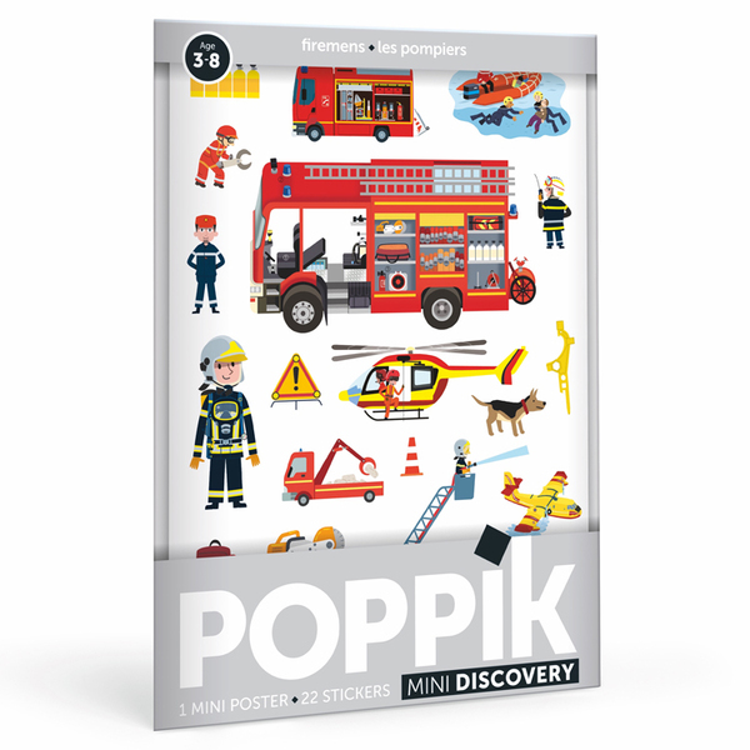 POPPIK - Mini poster 22 stickers Les pompiers