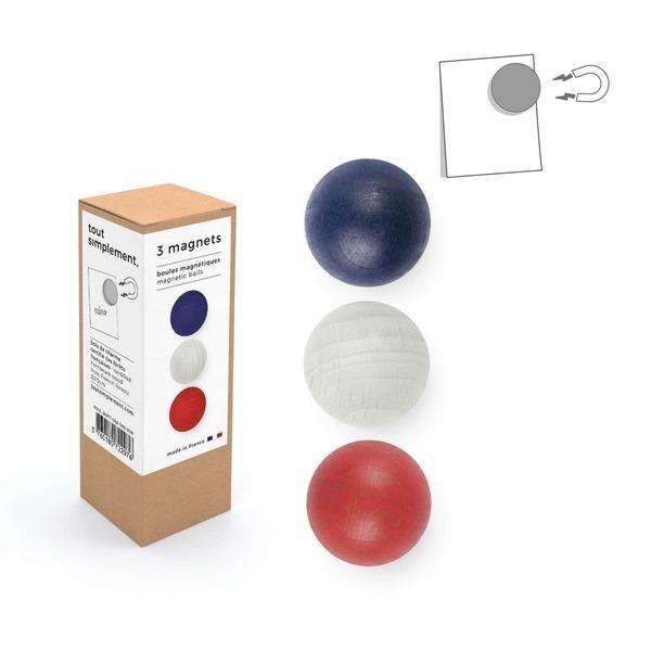 tout simplement, - boîte de 3 boules magnétiques en bois - bleu/blanc/rouge