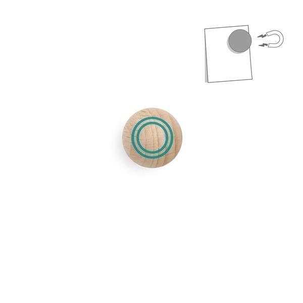 tout simplement, - boule magnétique en bois - cercle turquoise
