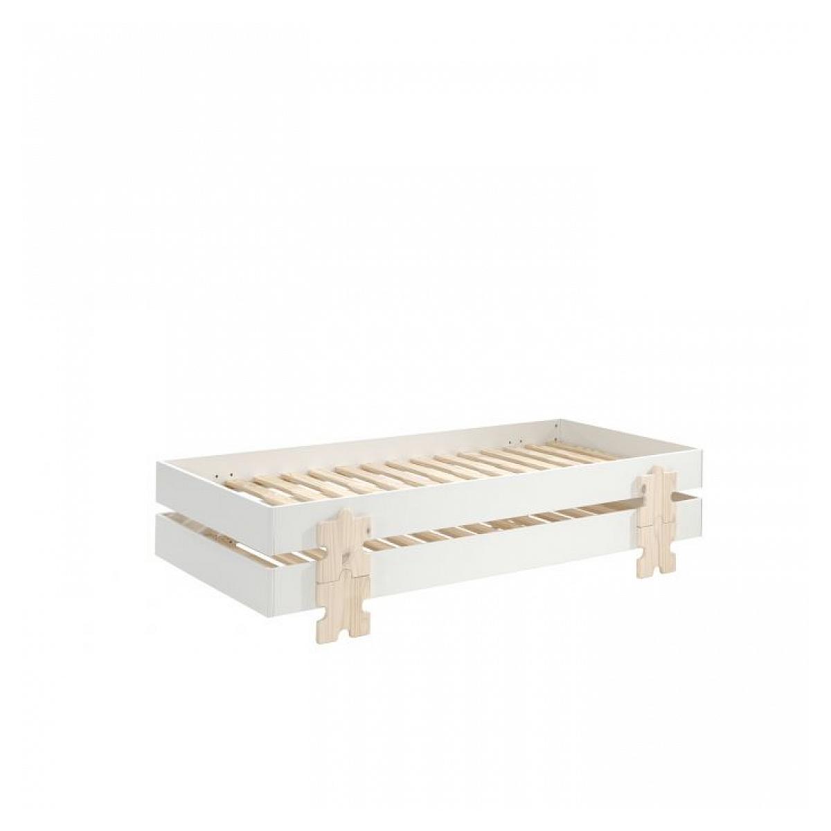 Vipack - 2 Lits Modulo Puzzle Blanc Empilables 90x200 L 203,6 x Lg 93,8 x