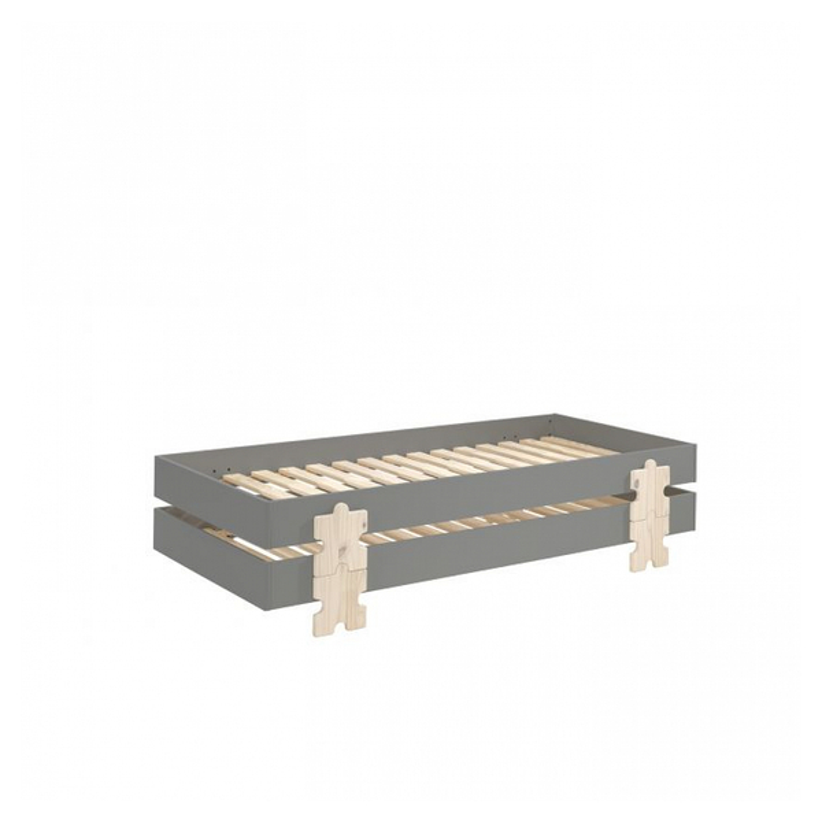Vipack - 2 Lits Modulo Puzzle Gris Empilables 90x200 L 203,6 x Lg 93,8 x