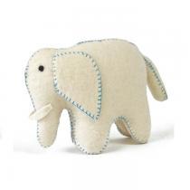 PAPOOSE TOYS - Éléphant blanc et bleu en laine feutrée