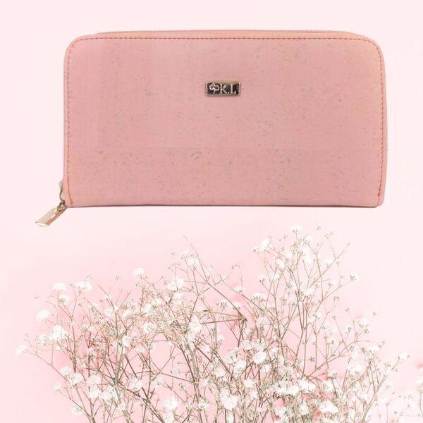 Karmyliege - Portefeuille en liège rose pour femme, zippé