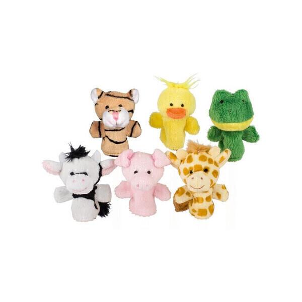 Goki - 6 Marionnettes à doigts, animaux du monde