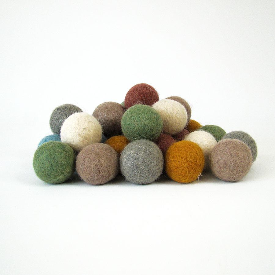 PAPOOSE TOYS - Balles 3,5 cm en laine feutrée Earth - set de 28