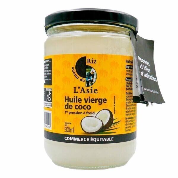 Autour du Riz - L'Asie - Huile de coco vierge extraite à froid 500 ml - Colis 6 x 0,5L