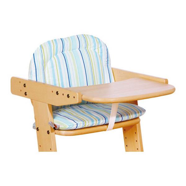 Coussin pour chaise haute b b coloris rayures bleu vert for Coussin de chaise haute