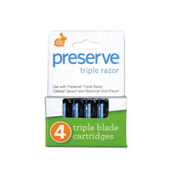 Preserve - Set de 4 recharges pour rasoir triple lames