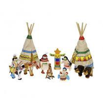 Goki - 4 poupées articulées en bois et chiffon Camp d'indiens - Goki