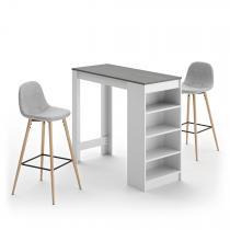 Temahome - A-COCOON table et chaises - Blanc et béton - Gris clair