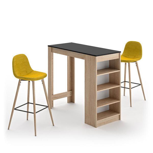 Temahome - A-COCOON table et chaises - Chêne naturel et noir - Jaune