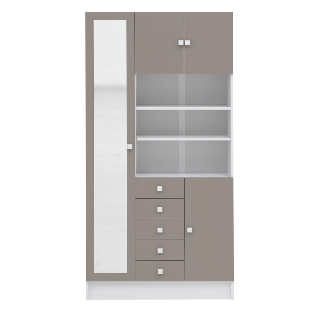 Temahome - Armoire COMBI 90 X 182 - Blanc et Taupe