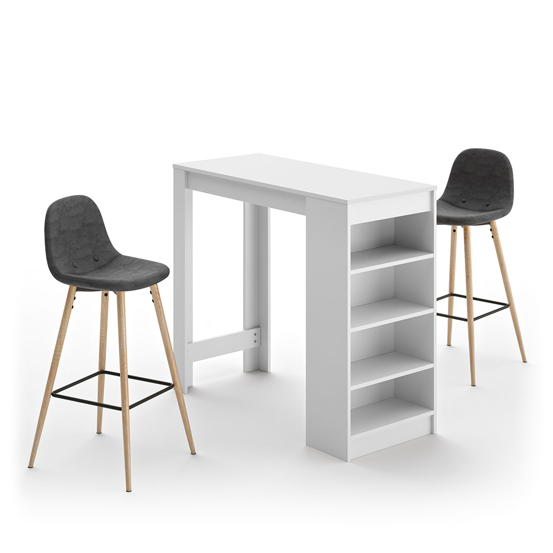 Temahome - A-COCOON table et chaises - Blanc - Gris anthracite