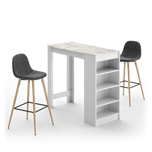 Temahome - A-COCOON table et chaises - Blanc et marbre - Gris anthracite
