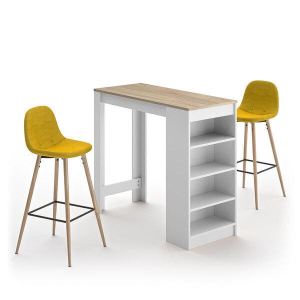 Temahome - A-COCOON table et chaises - Blanc et chêne naturel - Jaune