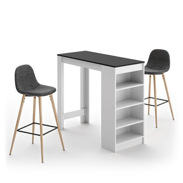 Temahome - A-COCOON table et chaises - Blanc et noir - Gris anthracite