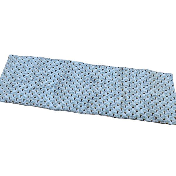 Husly Zafu - Bouillotte sèche aux graines de lin 45/15cm éventails bleus