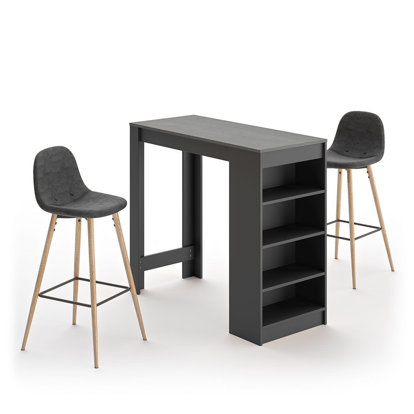 Temahome - A-COCOON table et chaises - Noir et béton - Gris anthracite